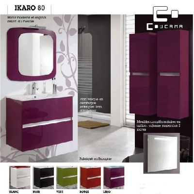 Meuble de salle de bain coycama s rie ikaro 80 cm - Hauteur carrelage salle de bain ...