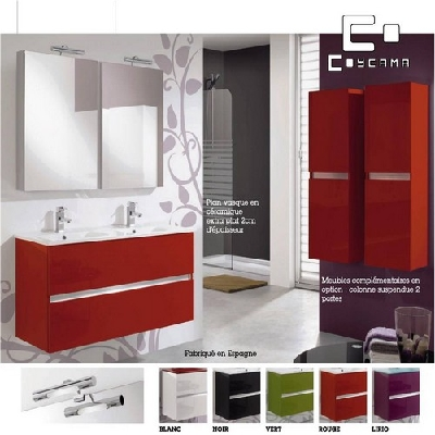 Meuble de salle de bain coycama s rie ikaro 120 cm carrelage meuble salle d - Meuble rouge et blanc ...