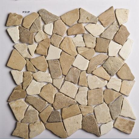 Galets plats pierre ou marbre mon for Frise carrelage exterieur