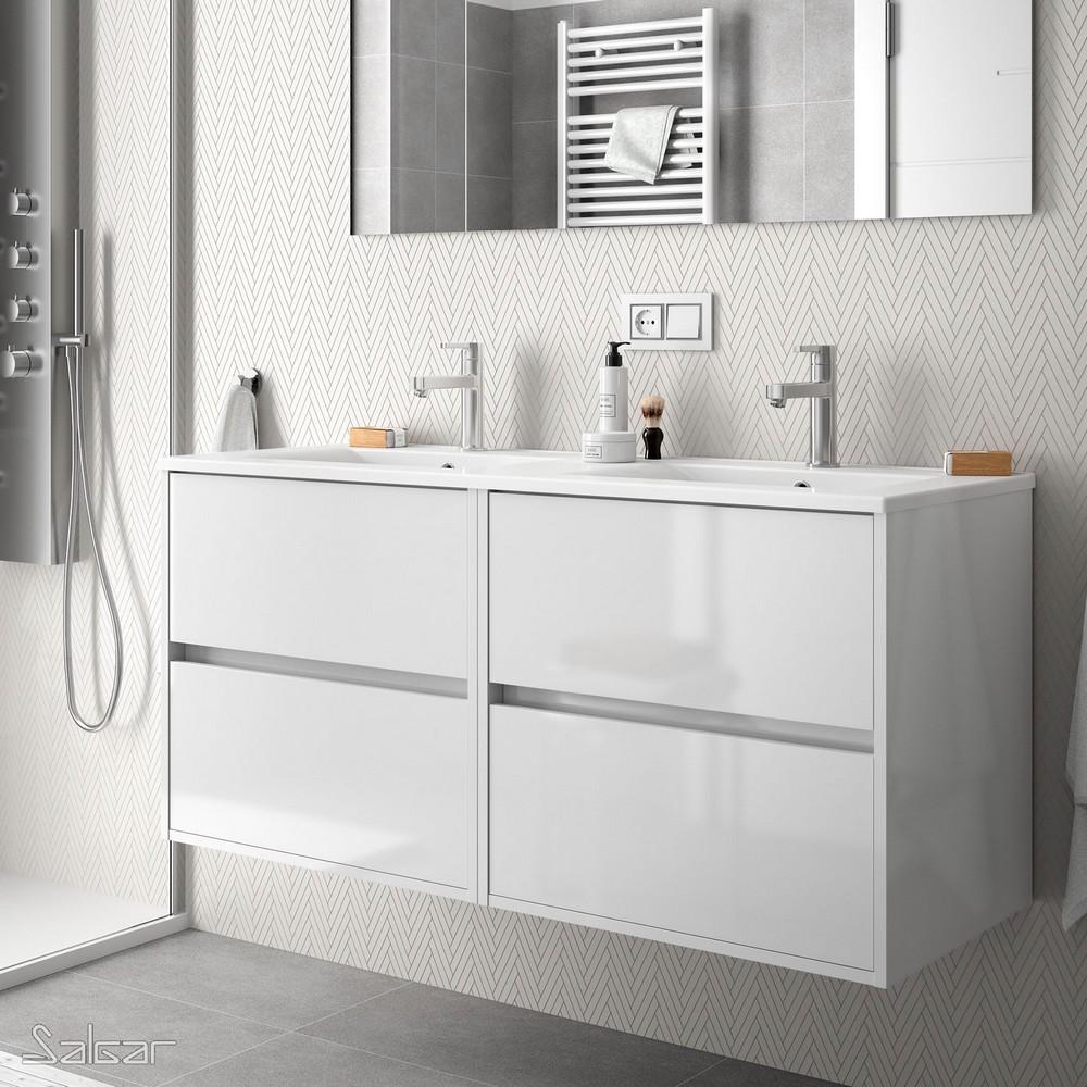 Meuble de salle de bain SALGAR - série Noja 90 cm Carrelage Meuble ...