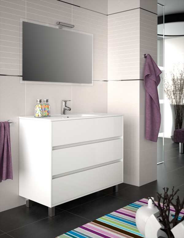 MEUBLE ARENYS 1000 BLANC BRILLANT + VASQUE PORCELAINE + MIROIR + APPLIQUE  LUMIERE LED