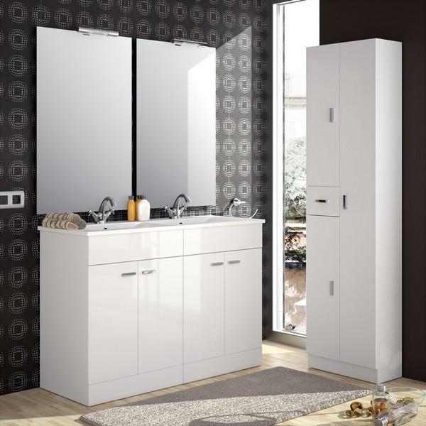 meuble motril 1200 blanc brillant vasque porcelaine 2 miroirs applique lumiere led
