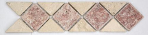TRAVERTIN ROUGE/TRAVERTIN BEIGE 28.5X12X1 CM
