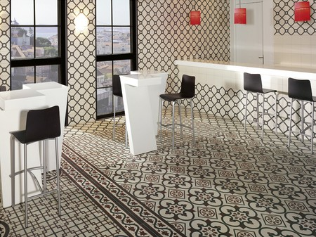 Carrelage imitation carreaux de ciment point p for Carrelage sol cuisine point p