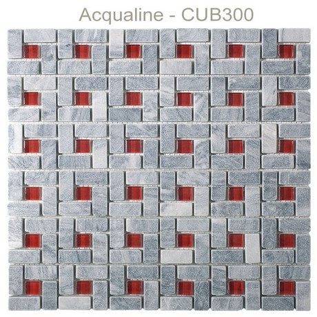 Mosaique pierre + verre Cubic plaque 305x305 - acqualine