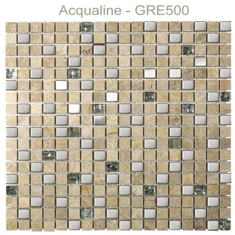 Mosaique pierre + verre + métal Greywood plaque 305x305 - acqualine
