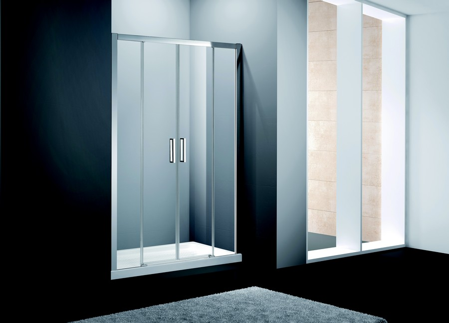 Frontales de douche Confort Spazio 2 fixes + 2 coulissants<br />Verre transparent.